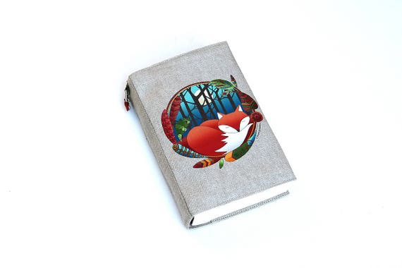 "Adjustable natural linen illustrated ""Fox totem pocketbook"