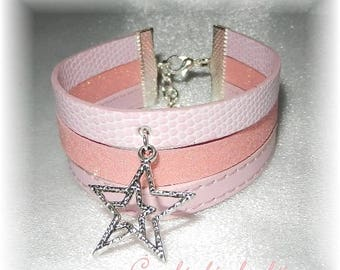 Bracelet cuff 3 rows of faux and glittery pink star charm