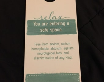 Safe Space Door Hanger