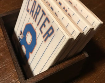 Set of 4 1986 New York Mets handcrafted ceramic coasters
