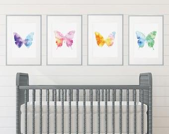 Girl Room, Girl's Room Decor, Girl Nursery Decor, Watercolor Art, Girl Nursery, Girl Nursery Decor, Butterfly Nursery, Butterfly Room Decor