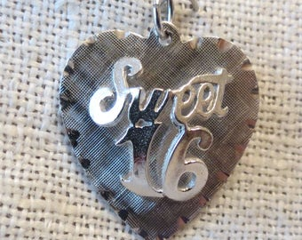 Sweet 16 Heart Sterling Silver Charm by M&M