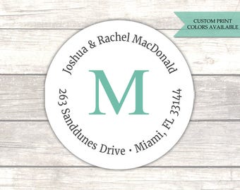 Return address labels (30) - Return address sticker - Round return address labels - Monogram return adress labels - Address stickers (AW012)