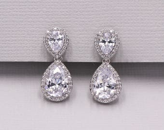 Clip on CZ earrings, pear cubic zirconia earrings, clip on wedding earrings, bridal jewelry, wedding earrings, Kensley Clip on Earrings