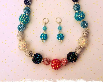 Chunky Berry Beaded Necklace (matching disco ball hearing aid charms available at a discounted bundle price)!