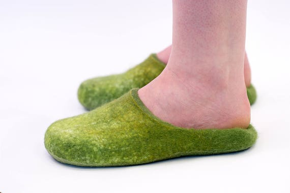 slippers for slippers felted Warm wool on day Slip her gift in Non slippers Mothers felted slide adult women slip slippers Green Slip qEwfOd1q