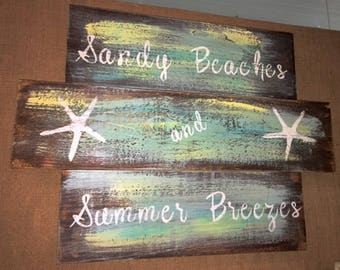 Sandy Beaches // Summer Breezes // Beach Decor // Beach Life // Lake Life // Cottage Decor // Customized Sign // Wood Sign // Wholesale Sign