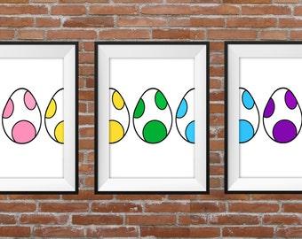 Colourful Yoshi Eggs Triple Poster - Graphic Design Digital Print – Nerd Gift Idea - Home Decor - Wall Art - Yoshi Poster - Mario Lovers