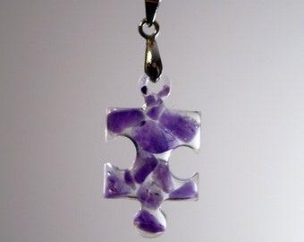 Natural Green Aventurine Puzzle Piece Necklace / Gemstone Resin Necklace / Autism Awareness Necklace / Puzzle Necklace / Autism Necklace