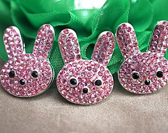 2 - 3 or 5 Pink Easter Bunny Embellishments Metal Rhinestone Buttons - FlatBack - Pink Rhinestones 21mm - Bunny Rabbit Craft Embellishment