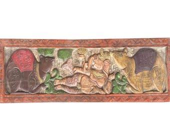 Vintage Hand Carved Ganesh Vahan 2 MICE Blessing Posture Headboard Bohemian Decor UNIQUE Handmade Artisan Crafted yoga zen Conscious design
