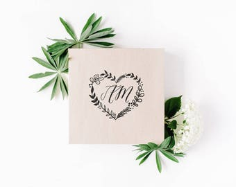 Custom wedding stamp, heart-shaped monogram stamp,  save the date  wedding stamp, rubber and self inking stamp