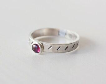 Root Chakra Ring, Garnet Stacking ring, Garnet, January birthstone, hidden message ring, garnet ring, root chakra, yoga ring, RTS CRS-ROO