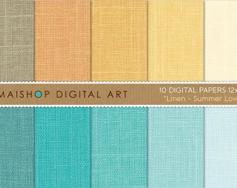 Digital Paper Linen 'Summer Love' Yellow, Orange, Turquoise, Blue, Celeste... Plain Color Digital Sheets