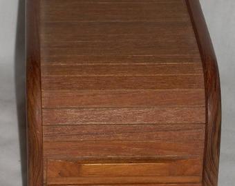 Mid Century Modern Teak Wood Tambour Storage Box Kalmar File CD Recipe