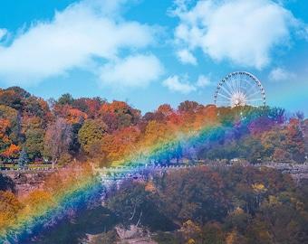 Fall Foliage Rainbow Print, Fall Trees Print, Fall Ferris Wheel Print, Autumn Print, Yellow Leaves Photo, Autumn Trees Print, Yellow Tree