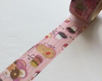 20mm x 6M washi masking tape - pink, food