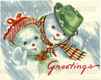 Greetings Snowman Couple Christmas Card #317 Digital Download