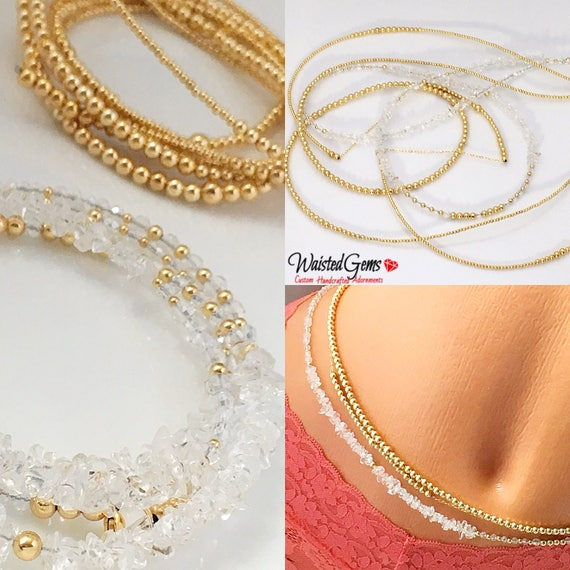 I'm Not For Everyone! 3pc 14k Gold & Crystal Triple Waist Bead Set, 14k Gold Waist bead, African Waist Beads, 14k Waist Chain  zmw221
