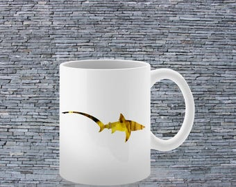 Colorful Mug - Tea Mug - Coffee Mug - Printed Mug - Ceramic Mug - Yellow Shark