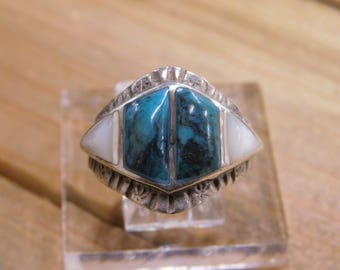 Sterling Silver Turquoise and Mother of Pearl Inlay Ring Size 9.75