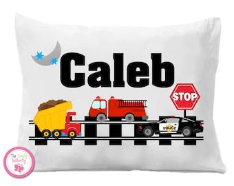 Transportation Pillow Case , Fire Truck, Police Car , Dump Truck Pillow Case