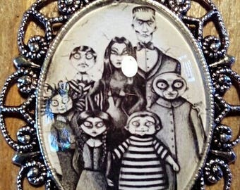 Addams family cameo necklace