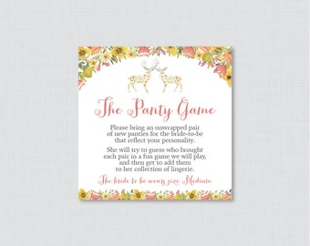 Woodland Panty Game - Printable Floral Deer Lingerie Shower Panty Game Cards AND Sign - Lingerie Shower Game, Bachelorette Party Game 0022