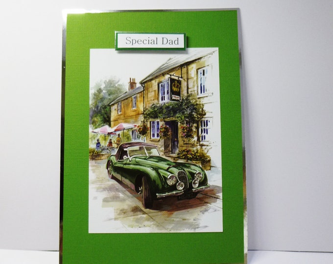 Fathers Day Card, Birthday Card, Vintage Car, Green Car, Special Day Card, Card For Dad, Automobile Car, Personalise The Card