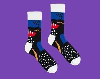 Art Moderne Kunst chaussettes chaussettes, noir chaussettes pour hommes et femmes