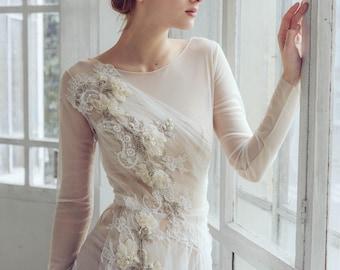 Beaded wedding dress etsy tulle wedding dress phaeno lace wedding dress beaded tulle bridal gown junglespirit Choice Image