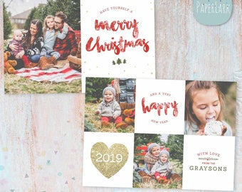 Christmas Card Template - Photoshop template - AC099 - INSTANT DOWNLOAD