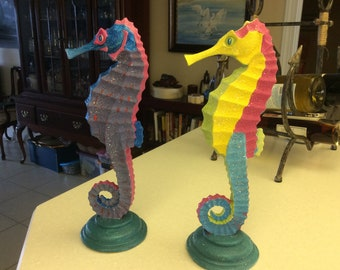 "Painted Resin Seahorses 12 1/2"" tall"