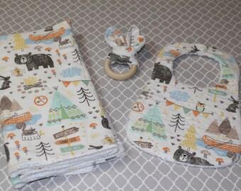 Flannel  Burp Cloths, Baby boy burp cloths, Burp cloth set, Woodland Animals, Bib, Baby Gift Set,  Wooden Teether