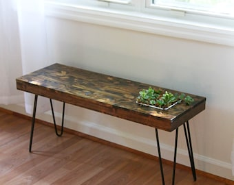 Succulent Garden Table // Small side or coffee table with planter // Steel Hairpin Legs, modern, eco furniture, sustainable, handmade, decor