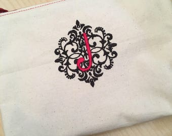 Embroidered Zipper Pouch-Elegant Damask Initial (Made to Order)