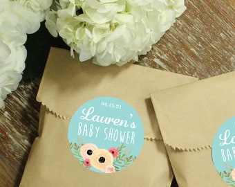 24 Paper Favor Bags - Sophie Label | Wedding Favor Bags | Bridal Shower Favor Bag | Kraft Favor Bag | Baby Shower Favor | Floral Labels