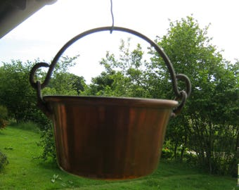 Small Copper Pan, Hanging Copper Pan, Copper Plant Holder