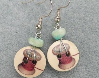 Wooden Button Dangle Earring