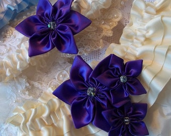 Wedding Garter Set, Bridal Garter Set, Purple garter,  Ivory & Regency Purple Satin Garter,  Vintage crystal centers