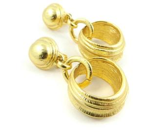 Vintage Hoop, Dangle Earrings, Matte Gold Tone, Clip Ons, Quality, STZ16