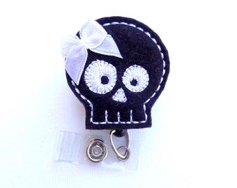 Retractable Badge Holder - Skully - black felt skull badge reel id holder - Halloween medical staff teacher student nurse badge reel