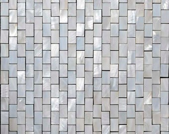 Mother of Pearl Mosaic Bathroom White Subway Shell Tiles Kitchen Wall Tile Backsplash 11 Sq. Ft