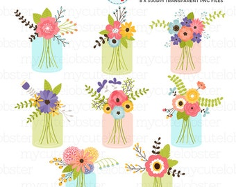 Mason Jar Flowers Clipart Set - florals, flowers, wedding flowers, mason jar, bunches - personal use, small commercial use, instant download