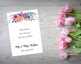 Personalised Wedding Thank You Cards with Matching Envelopes Pack Of 10 TY75