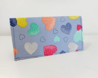 Duplicate Checkbook Cover, Blue Check Book Cover, Hearts Checkbook Cover