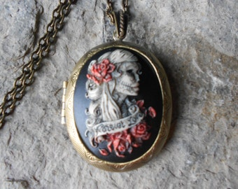 Choose Bronze or Silver - Hand Painted CAMEO LOCKET-- Skeleton Woman - Forever Love - Zombie - Sugar Skull