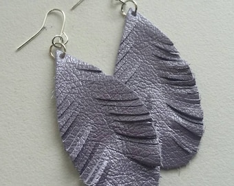 Ready to ship! Light as a Feather Purple leather feather-like fringe earrings boho style hand crafted