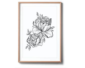 Flower Duo - Black and White Line Contemporary Art Print - A4 and A3 available