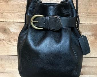 Vintage Coach USA Cinched Soho Buckle Bucket Bag Black Leather Crossbody 4156